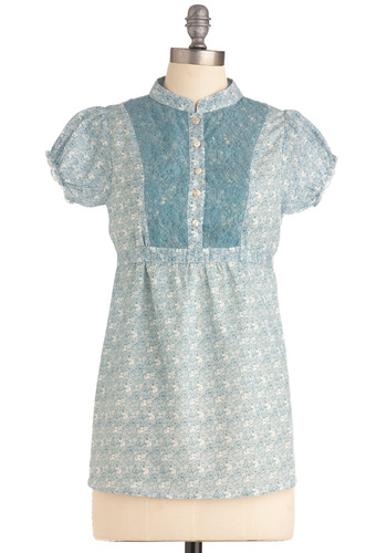Going off to Cottage Top - Blue, White, Floral, Lace, Short Sleeves, Mid-length
