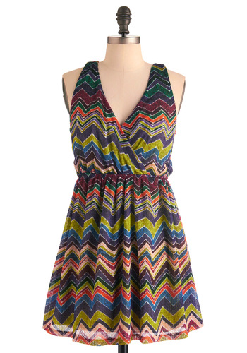Tropical Trifle Dress - Short, Casual, Print, Empire, Racerback, Multi, Multi, Mini, V Neck