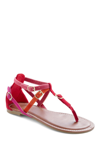 Heat of the Moment Sandal - Orange, Pink, Buckles, Red, Casual, Summer