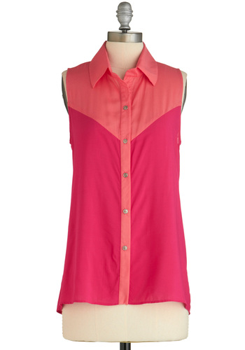Sample 1630 - Pink, Orange, Buttons, Casual, Vintage Inspired, Sleeveless