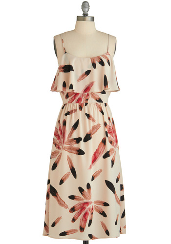 Sample 1632 - Cream, Pink, Brown, Black, Print, Backless, Tiered, Sheath / Shift, Spaghetti Straps