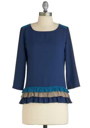 Sample 1646 - Blue, Multi, Solid, Ruffles, Casual, Long Sleeve