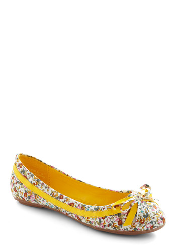 She's the Sweetest Flat - Yellow, Multi, White, Multi, Floral, Bows, Trim, Casual, Spring