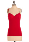 Camisole Sister Top in Red - Mid-length, Casual, Red, Solid, Spaghetti Straps