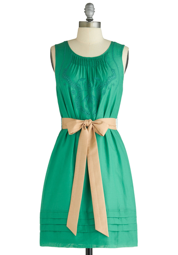 Jade to Order Dress - Mid-length, Vintage Inspired, Green, Tan / Cream, Solid, Embroidery, Shift, Sleeveless