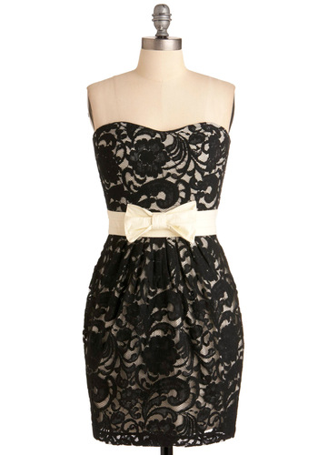 Lace of Your Own Dress in Black - Black, White, Bows, Lace, Mini, Strapless, Floral, Formal, Party, Vintage Inspired, 60s, Sheath / Shift, Mid-length