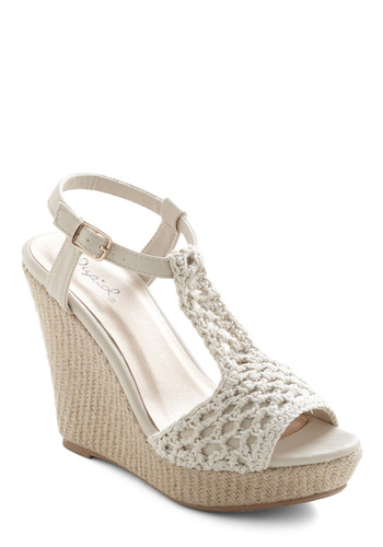 Wed and Breakfast Wedge - Cream, Solid, Crochet, Casual, Summer, Wedge