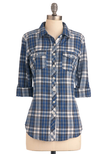 Wandering in Williamsburg Top in Blue and White - Blue, Black, Plaid, Casual, Menswear Inspired, Long Sleeve, White, Mid-length