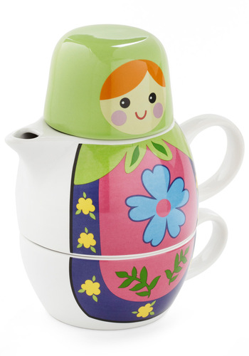 Doll-ways Welcome Tea Set by Streamline - Multi, Green, Blue, Pink, White