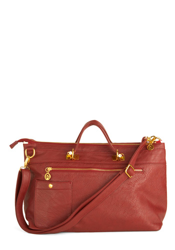 Karma Karma Carnelian Bag - Red, White, Solid, Stripes, Pockets, Work