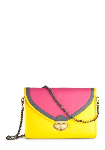 Make Lemonade Bag - Pink, Chain, Yellow, Faux Leather
