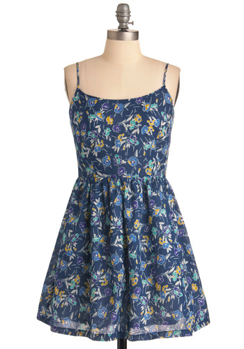 Picnic in the Meadow Dress - Short, Blue, Floral, A-line, Spaghetti Straps, Party, Multi