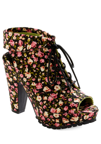 We Must Talk Heel - Multi, Green, Pink, Tan / Cream, Floral, Cutout, Black, Statement, Platform, Lace Up, High