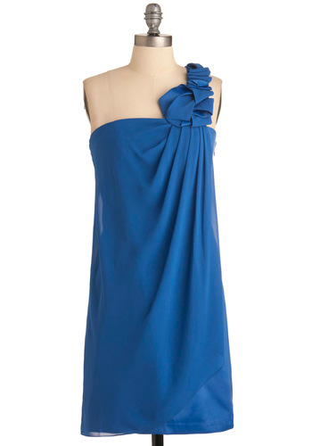 An Evening in Atlantis Dress - Mid-length, Blue, Solid, Pleats, Trim, Shift, One Shoulder, Special Occasion, Prom, Wedding, Cocktail, Satin