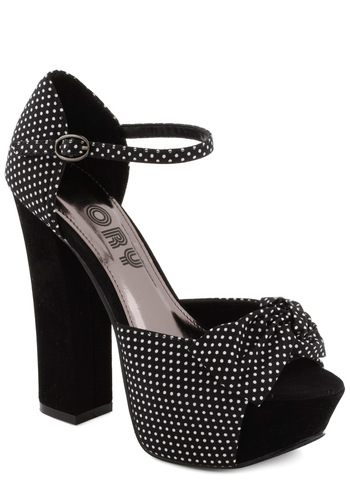 SoCal Networking Heel - Black, White, Polka Dots, Bows, Party, High