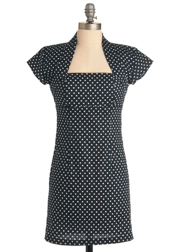 But Of Course Dress in Dots - White, Polka Dots, Cutout, Sheath / Shift, Short Sleeves, Black, Short, Cocktail, Cotton