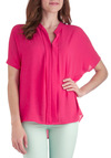 Crush on Hot Pink Top - Mid-length, Pink, Solid, Casual, Short Sleeves, Pleats, Neon