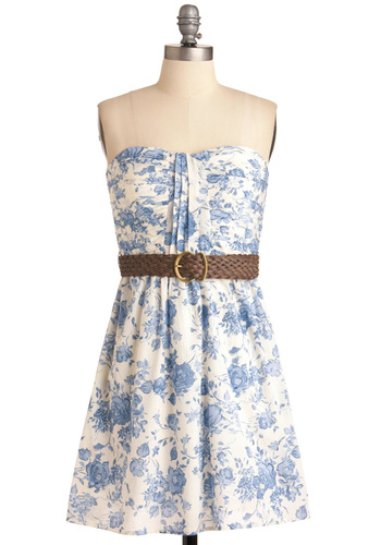 Toile You Need Dress - Floral, Pleats, Strapless, Casual, Blue, White, Shift