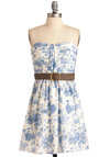 Toile You Need Dress - Floral, Pleats, Strapless, Casual, Blue, White, Sheath / Shift