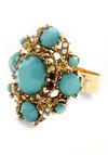 Bling It On Ring - Blue, Gold, Pearls, Rhinestones, Wedding