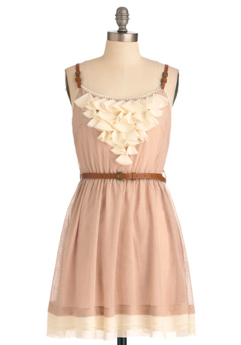 Stable Scape Dress - Short, Tan, Tan / Cream, Ruffles, Trim, A-line, Spaghetti Straps, Party, Pastel, Belted