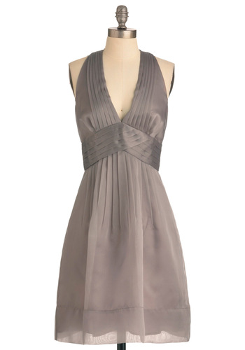 Pewter or Later Dress by Max and Cleo - Long, Grey, Solid, Cutout, Pleats, Empire, Halter, Wedding, Party, Vintage Inspired, Prom