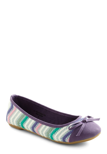 Sweet Steps Flat - Purple, Green, Pink, Grey, White, Stripes, Bows, Multi, Casual, Spring