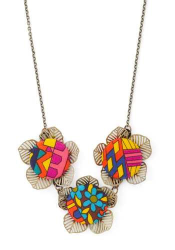On the Up and Upholstery Necklace - Print, Flower, Multi, Gold, Multi, Boho, Mod