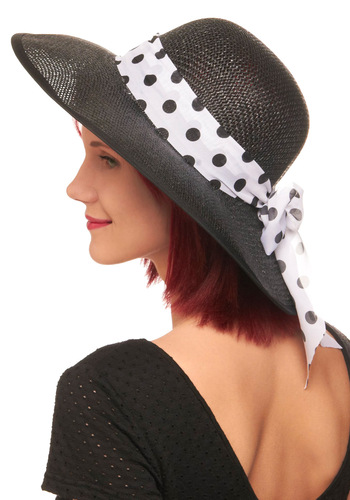 Spotted at the Races Hat - Black, White, Polka Dots, Woven, Casual