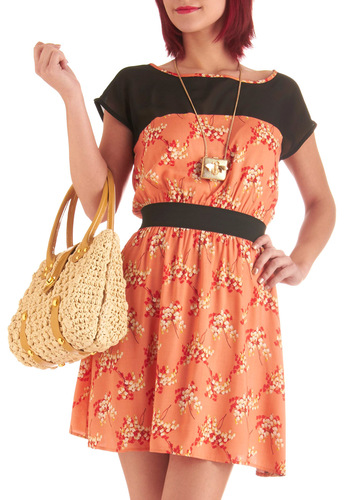 Pleasant Valley Sweetie Dress in Coral - Mid-length, Orange, Red, Tan / Cream, Black, Short Sleeves, Casual, Multi, Floral, Shift, Coral