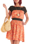 Pleasant Valley Sweetie Dress in Coral - Mid-length, Orange, Red, Tan / Cream, Black, Short Sleeves, Casual, Multi, Floral, Sheath / Shift, Coral