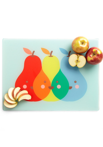 Pear of Friends Cutting Board - Red, Orange, Yellow, Green, Blue, Novelty Print, Fruits
