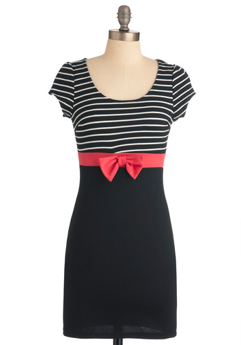Everywhere You Bow Dress - Short, Black, Pink, White, Stripes, Bows, Casual, Urban, Shift, Cap Sleeves, Girls Night Out
