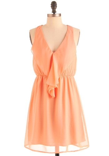 Apricot Gelato Dress - Mid-length, Orange, Solid, Tiered, Racerback, Casual, Ruffles, A-line