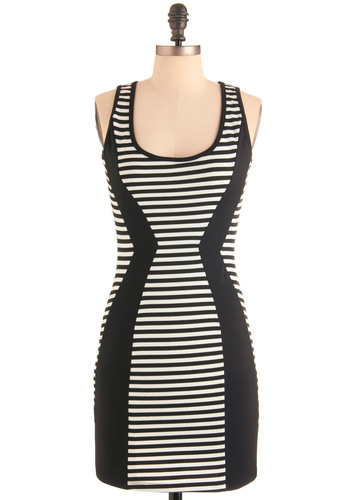 Urban Architect Dress - Short, Stripes, Mini, Tank top (2 thick straps), Urban, Black, White, Party, Sheath / Shift
