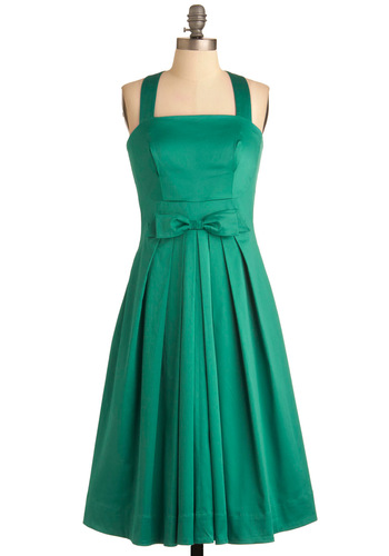 Pleased to See You Dress in Green by Emily and Fin - Green, Solid, Bows, Buttons, Pleats, Pockets, A-line, Halter, Party, Vintage Inspired, Wedding, Long, Fit & Flare, Cocktail, International Designer
