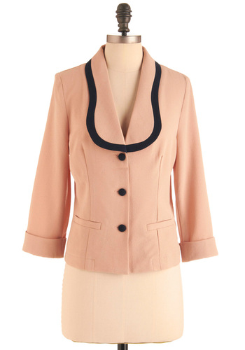 Power Pursuit Blazer by Miss Patina - Short, Pink, Black, Solid, Work, Vintage Inspired, Long Sleeve, Buttons, Pockets, 40s, 1.5