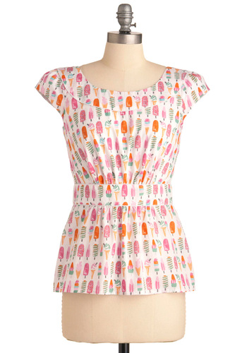 Cool with Me Top by Emily and Fin - Multi, Novelty Print, Buttons, Work, Casual, Vintage Inspired, Cap Sleeves, Multi, Orange, Pink, Spring, Mid-length, Cotton, International Designer