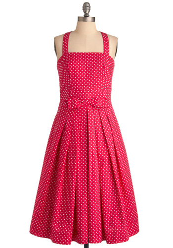 Pleased to See You Dress in Berry by Emily and Fin - Pink, White, Polka Dots, Bows, Buttons, Pleats, Pockets, A-line, Halter, Party, Vintage Inspired, Wedding, 50s, Long, Fit & Flare, Exclusives, Cotton, International Designer, Tis the Season Sale