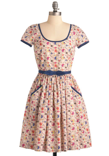 Country Homeward Dress by Emily and Fin - Orange, Yellow, Blue, Pink, Brown, Bows, Pockets, Trim, A-line, Short Sleeves, Casual, Vintage Inspired, Multi, Multi, Floral, Spring, Mid-length, Fit & Flare, Exclusives, Cotton, International Designer