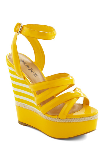 Strutting on Sunshine Wedge - Yellow, White, Woven, Stripes, Casual, Summer, Wedge, Platform, High, Tis the Season Sale