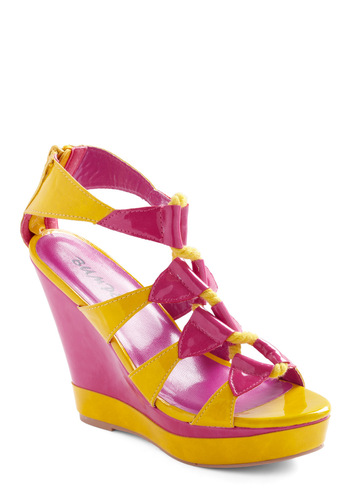 Summer Splendor Wedge - Exposed zipper, Yellow, Pink, Party, Summer, Wedge, Platform, High