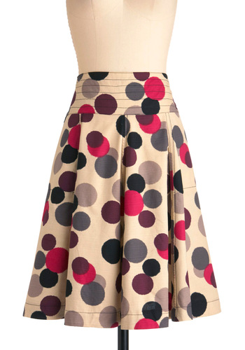 Running in Circles Skirt by Effie's Heart - Long, Multi, Polka Dots, Casual, Vintage Inspired, Tan, Purple, Pink, Black, Grey, Pleats, A-line, High Waist, Cotton, Fit & Flare