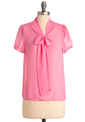 Dreamy and You Top in Pink - Mid-length, Vintage Inspired, Pink, Solid, Short Sleeves, Work, Spring