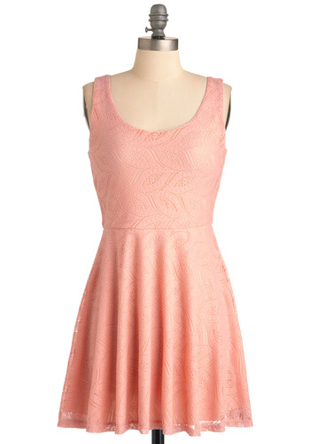 Miss Whimsy Dress - Short, Pink, Lace, Tank top (2 thick straps), Casual, Solid, Sheath / Shift, Spring, Orange