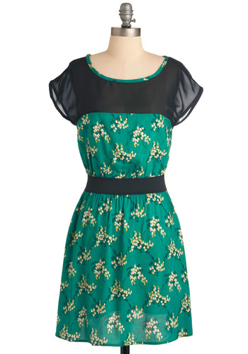 Pleasant Valley Sweetie Dress in Kelly - Mid-length, Casual, Green, Yellow, Tan / Cream, Black, Floral, Short Sleeves, Multi, Sheath / Shift