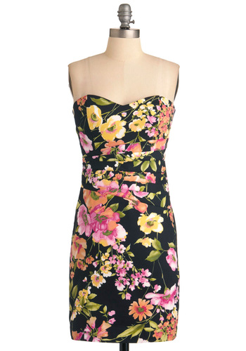 Flower Shop Crush Dress - Orange, Yellow, Green, Pink, Floral, Pleats, Mini, Strapless, Multi, Black, Party, Summer, Mid-length, Neon, Cotton, Sweetheart
