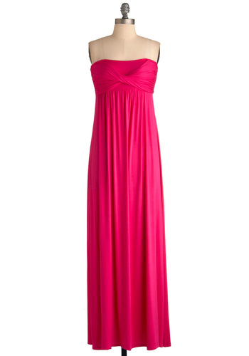 Effortless Elegance Dress - Long, Pink, Solid, Maxi, Strapless, Casual, Urban, Summer