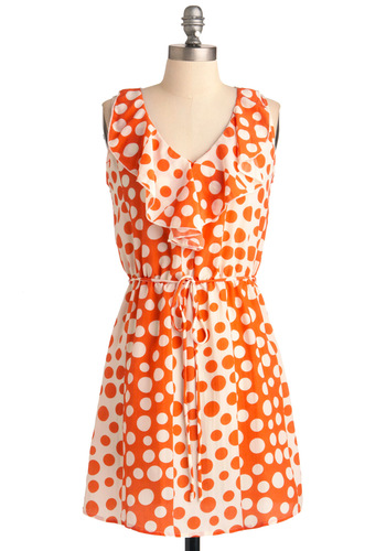 Dot You'd Never Ask Dress - Mid-length, Casual, Orange, Polka Dots, Ruffles, Shift, White, Sleeveless, Neon, Belted, V Neck
