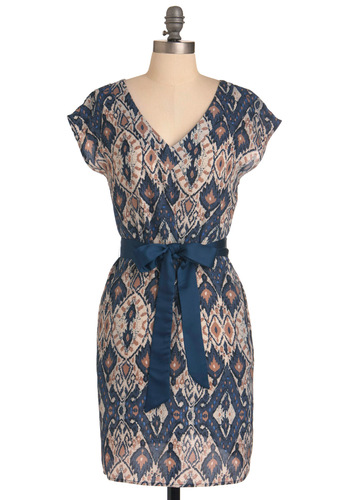 Fire and Ice Dress - Mid-length, Casual, Brown, Tan / Cream, Print, Pockets, Sheath / Shift, Short Sleeves, Blue, Belted, V Neck